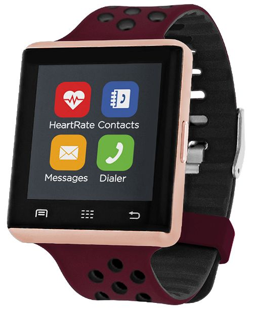 iTouch Air 2 Smartwatch 41mm Rose Gold Case with Merlot and Black Perforated Strap