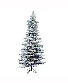 9 ft Flocked Utica Fir Slim Artificial Christmas Tree With 750 Multi Led Lights