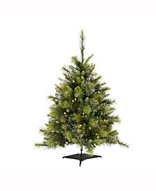 3 ft Cashmere Pine Artificial Christmas Tree With 100 Warm White Led Lights