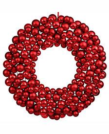 "Vickerman 22"" Red Shiny/Matte Ball Wreath"