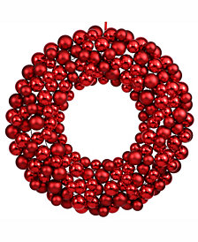 "Vickerman 36"" Red Shiny/Matte Ball Wreath"