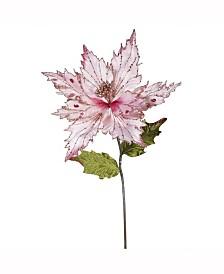 "Vickerman 26"" Pink Velvet Poinsettia Artificial Christmas Pick, 3 Per Bag"