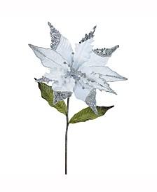 "Vickerman 26"" Silver Velvet Poinsettia Artificial Christmas Pick, 3 Per Bag"