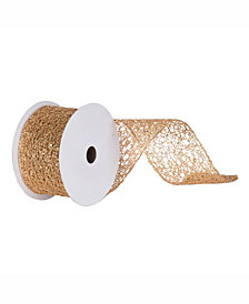 "Vickerman 4"" Gold Glitter Mesh Christmas Ribbon"