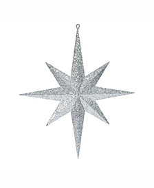 "Vickerman 15.75"" Silver Iridescent Glitter Bethlehem Star Christmas Ornament"