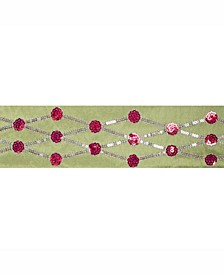 """4"""" Lime With Red Sequin Circle And Silver Diamond Christmas Ribbon"""
