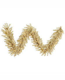 Vickerman 9 ft White-Gold Tinsel Artificial Christmas Garland With 100 Clear Lights