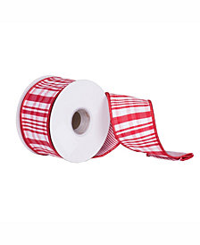 "Vickerman 2.5"" Red-White Scandia Plaid Christmas Ribbon"