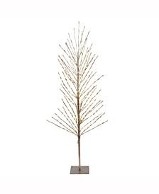 3'  Tree, 200L Warm White Lights, Metal Base, Champagne Tape