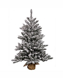 42 inch Flocked Anoka Pine Artificial Christmas Tree With 150 Warm White Led Lights