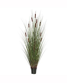 """24"""" Artificial Potted Green Straight Grass X 150,  Features 5 Brown Cattails"""