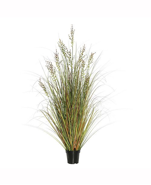 """Vickerman 36"""" Pvc Artificial Potted Green And Brown Grass X 215 And Plastic Grass X 7"""