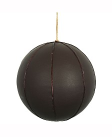 """8"""" Brown Leather Ball Ornament."""