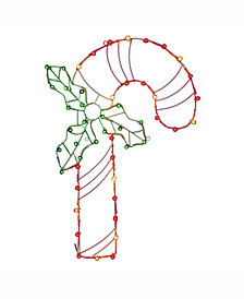 "Vickerman 48"" C7 Led Candy Cane Wire Silhouette"