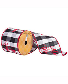 """4"""" X 10Yd Red Embroidered Merry Christmas On Black And White Plaid With A Red Edge"""