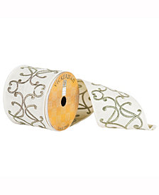 """4"""" X 10Yd White Ribbon With Gold Embroidered Scrolls"""