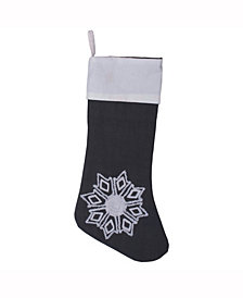 Vickerman Decorative Christmas Stocking Featuring Festive Frost Grey Duckcloth