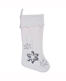 Vickerman Decorative Christmas Stocking Featuring Elegant And Plush White Cotton Velvet