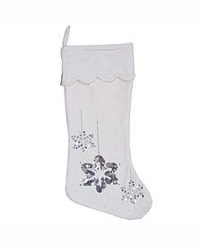 Vickerman Decorative Christmas Stocking Featuring Elegant And Plush White Cotton Velvet