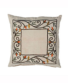 Vickerman Decorative Pillow Featuring Fall Harvest Border