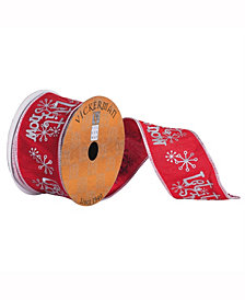 Red Ribbon With Silver Embroidered Let It Snow