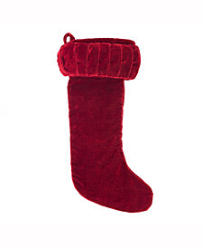 "Vickerman 8"" X 19"" Plush Red Velvet Stocking"
