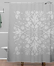 Iveta Abolina White Floral Gray II Shower Curtain