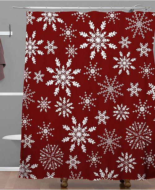 Deny Designs Iveta Abolina Silent Night Red Shower Curtain