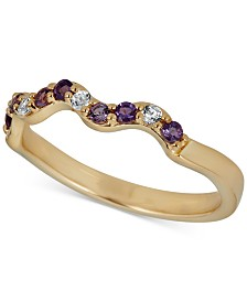 Amethyst Wavy Band (1/5 ct. t.w.) in 14k Gold-Plated Sterling Silver