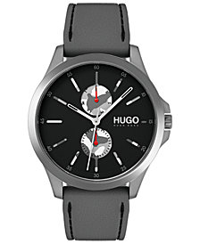HUGO Men's #Jump Gray Rubber Strap Watch 41mm