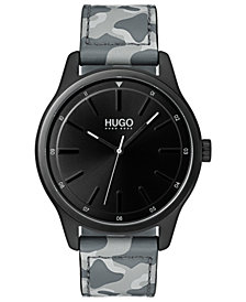 HUGO Men's #Dare Gray Camo Leather Strap Watch 42mm