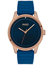 HUGO Men's #Move Blue Rubber Strap Watch 42mm