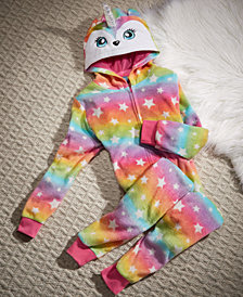 Max & Olivia Big Girls Rainbow Unicorn Hooded Onesie, Created for Macy's