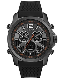 Men's Analog-Digital Chronograph Black Silicone Strap Watch 46mm