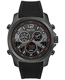 Kenneth Cole Reaction Men's Analog-Digital Chronograph Black Silicone Strap Watch 46mm