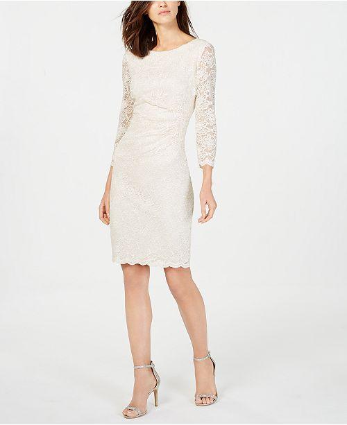 eeaabd24e351d Jessica Howard Metallic Lace Sheath Dress   Reviews - Dresses ...