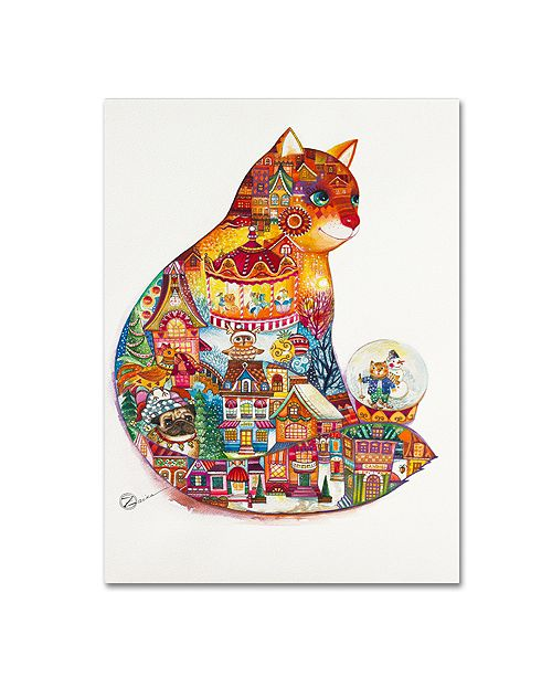 """Trademark Global Oxana Ziaka 'Christmas Cat 2' Canvas Art - 19"""" x 14"""" x 2"""""""