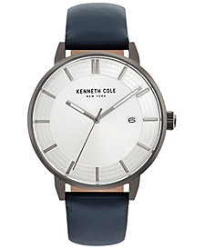 Kenneth Cole New York Men's Blue Leather Strap Watch 44mm