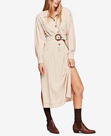 Free People Aubrey Belted Striped Shirtdress
