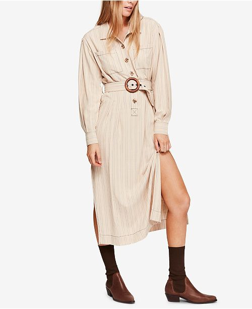 d45f666302e12 Free People Aubrey Belted Striped Shirtdress & Reviews - Dresses ...