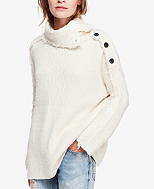 Free People On My Side Turtleneck Button-Trim Sweater