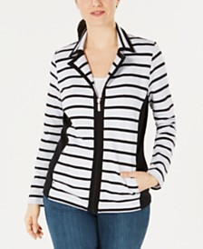 Karen Scott Striped Zippered Jacket, Created for Macy's