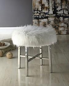 Bella Luna Round Plush Ottoman with Metal Legs