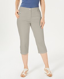 Karen Scott Button-Hem Capri Pants, Created for Macy's