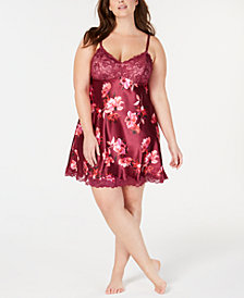 Thalia Sodi Plus Size Floral-Print Lace-Trim Chemise, Created for Macy's