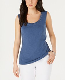 Karen Scott Stud-Trim Ladder-Neck Top, Created for Macy's