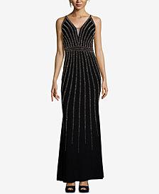 Xscape Beaded V-Neck Gown, Regular & Petite Sizes