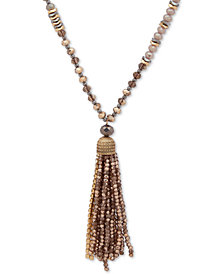 "lonna & lilly Two-Tone Beaded Tassel 32"" Pendant Necklace"