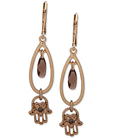 lonna & lilly Gold-Tone Crystal Hamsa Hand Drop Earrings