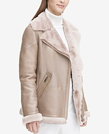 Long Shearling Biker Jacket